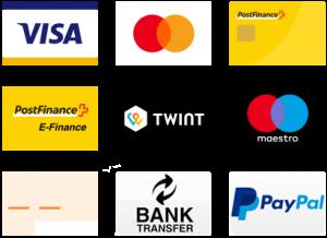 Bezahlung mit Kreditkarte, Paypal oder Überweisung